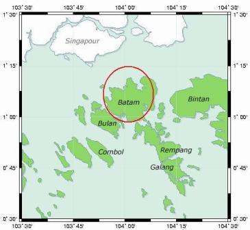 Map showing relative location of Batam and Singapore